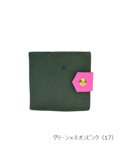 IL BISONTE イルビゾンテ【折財布 54212308340】 グリーン×ネオンピンク